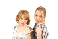 Beautiful girls expressing scepticism Stock Photo