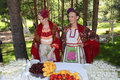 Beautiful girls in the national Ukrainian costume. Royalty Free Stock Photo