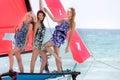 Beautiful girls on sea yacht Royalty Free Stock Photo