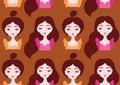 Beautiful girls seamless pattern.