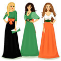 Beautiful girls set of vector illustration isolated Royalty Free Stock Image