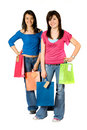 Beautiful girls with shopping bags Royalty Free Stock Images