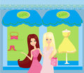 Beautiful girls shopping illustration Stock Photography