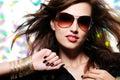 Beautiful glamour fashionable woman in sunglasses Stock Photos