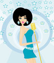 Beautiful glamour karaoke girl illustration Royalty Free Stock Image