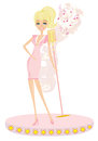 Beautiful glamour karaoke girl illustration Stock Image