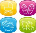 Beautiful glossy buttons - Baby icons. Royalty Free Stock Photo