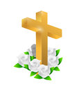 Beautiful gold cross and roses illustration design over white Royalty Free Stock Images