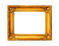 Beautiful gold plated wooden frame isolated on white background Royalty Free Stock Photo