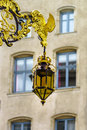 Beautiful golden covered street lamp in nancy france Stock Photo