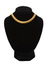 Beautiful golden necklace on mannequin isolated on white background Royalty Free Stock Photos
