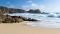 Beautiful golden sandy beach porthcurno cornwall england uk Royalty Free Stock Image