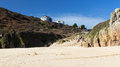 Beautiful golden sandy beach porthcurno cornwall england uk Royalty Free Stock Images