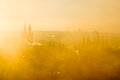 Beautiful golden scenery of soft Prague morning misty cityscape Royalty Free Stock Photo