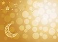 Beautiful golden sparkling moonand stars on gold backgroun