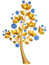 Beautiful golden tree expensive blue flowers as jewelry Royalty Free Stock Image