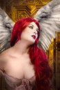 Beautiful gothic sexy angel with wings Royalty Free Stock Photos