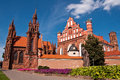 Beautiful gothic style st anne church in vilnius lithuania on a summer day Royalty Free Stock Photos