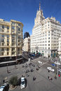 Beautiful gran via street at spring sunny day in madrid spain Stock Images