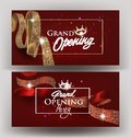 Beautiful grand opening invitation banners with silk ribbons with pattern and frames. Vector illustration