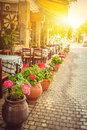 Beautiful greek cafe terrace in Heraklion, Crete Royalty Free Stock Photo