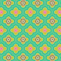 Beautiful green colorful decorated Moroccan seamless pattern with colorful floral designs