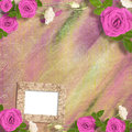 Beautiful greeting card with bouquet of pink roses, ribbons Royalty Free Stock Photo