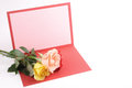 Beautiful greeting card and roses photo of Stock Photos