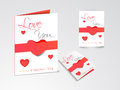 Beautiful greeting cards for happy valentine s day celebration or love with hearts and love you text on shiny grey Royalty Free Stock Photos