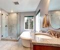 Beautiful grey new modern bathroom interior. Royalty Free Stock Photo