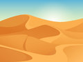 Beautiful gritty landscape of sahara desert. Vector background with sunrise, yellow sands dunes and blue sky. Royalty Free Stock Photo