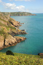 Beautiful guernsey coast channel islands the rocky southern of the coastline of is among the most in europe Stock Images