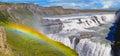 Beautiful Gullfoss waterfall and rainbow on a sunny day