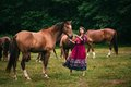 Beautiful gypsy in violet dress with horses Stock Image