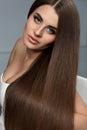 Beautiful Hair. Woman Model With Glossy Straight Long Hair.