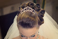 Beautiful hairdress for the bride european Royalty Free Stock Photography