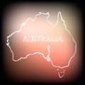 Beautiful hand drawn outline map of Australia, vector illustration