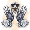 Beautiful hand-drawn tattooed Buddha hands with peony flower and sacred geometry. Isolated vector illustration.