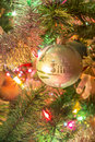 Beautiful hand made glass ball on Christmas Tree Royalty Free Stock Photo