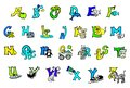 stock image of  Beautiful hand-painted colorful alphabet for children with happy pictures to learn abc letters, writing and reading