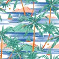 Beautiful Hand painted and drawn summer island palm tree ,ocean ,wave ans boat seamless pattern vector,Design for fashion , fabric Royalty Free Stock Photo