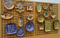 Beautiful Hand Painted Plates in Evora, Portugal Royalty Free Stock Photo