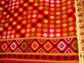 Beautiful handloom fabric background with flowers