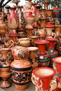 Beautiful handmade & hand-painted clay pots Stock Image