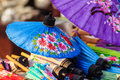 Beautiful handmade umbrellas for sale in the local market at nor