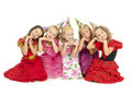Beautiful happy children group of at the carnival Royalty Free Stock Images