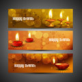 Beautiful happy diwali headers set colorful design Stock Photography