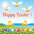 Beautiful  and colorful Happy Easter greeting card III with easter eggs and bells. Royalty Free Stock Photo