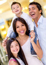 Beautiful happy family shopping center Stock Image