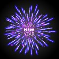 Beautiful Happy New Year greeting card with white and purple glittering fireworks Royalty Free Stock Photo